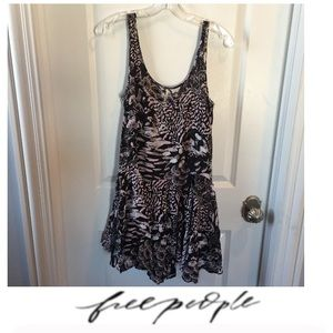 Free People Black Pattern Slip Dress